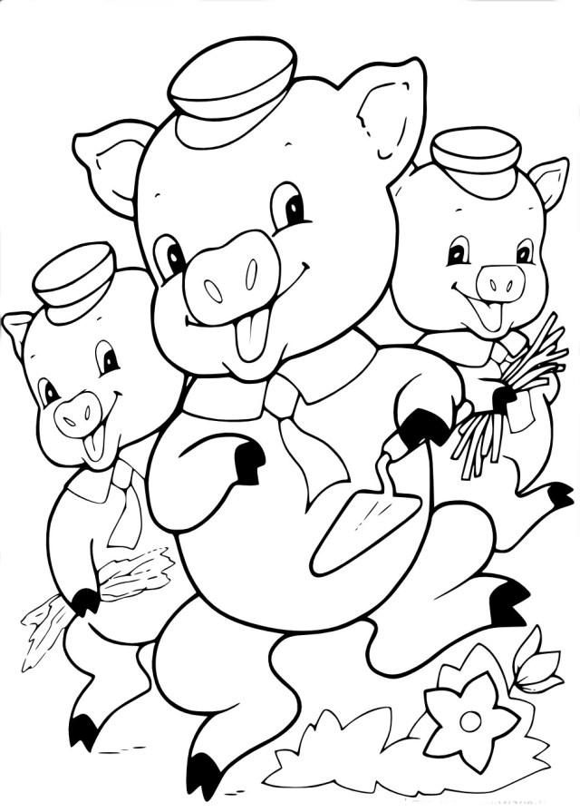 Coloriage Les trois petits cochons à imprimer