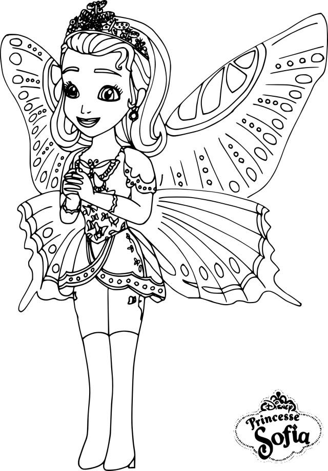 Coloriage princesse Sofia papillon à imprimer