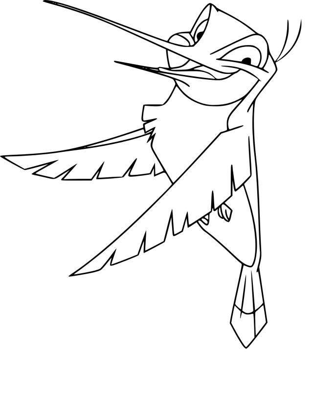 Coloriage colibri Pocahontas à imprimer