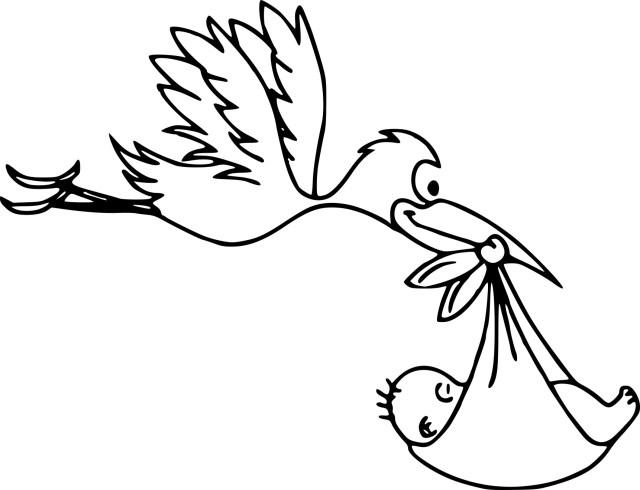 Coloriage cigogne et un bebe à imprimer
