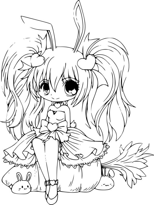 Coloriage princesse de manga à imprimer
