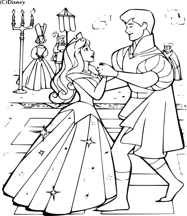 Coloriage Aurore et le Prince à imprimer