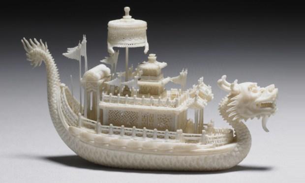 Ivory miniature dragon boat