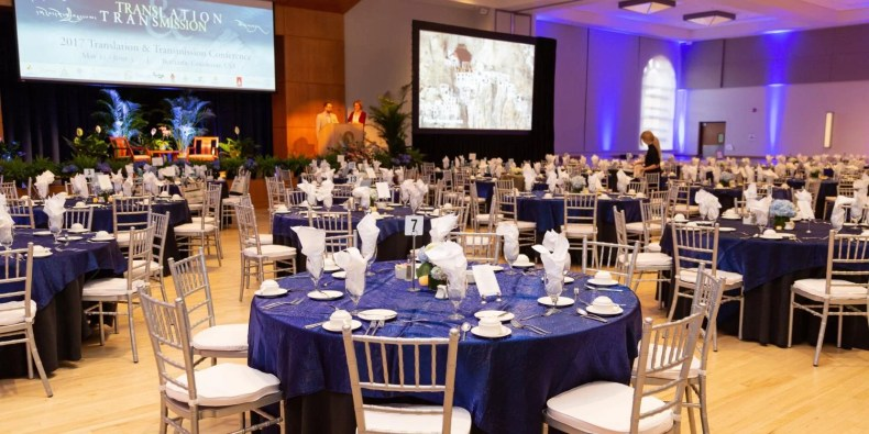 Ballroom set for formal event