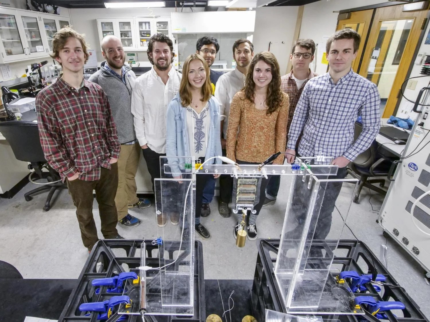 Assistant Professor Christoph Keplinger, graduate student Eric Acome, undergraduate student Madison Emmett, graduate student Nick Kellaris, graduate student VC Gopaluni Venkata, undergraduate student Madeline King, graduate student Shane Mitchell, PhD candidate Timothy Morrissey, and undergraduate s