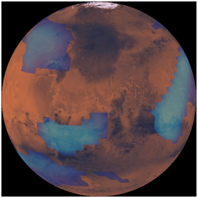 Computer simulation of middle altitude clouds on Mars.