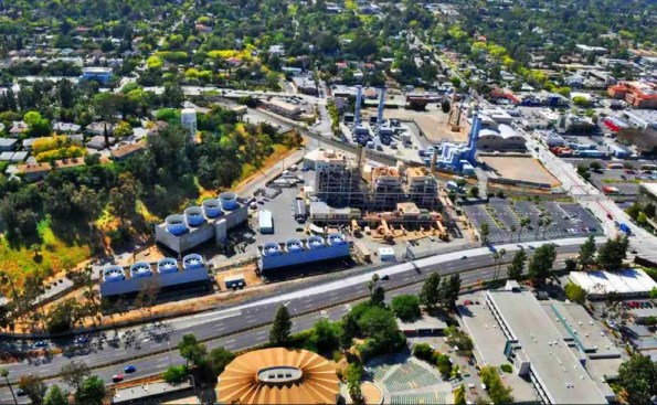 a birdsview of adjacent power plant buildings