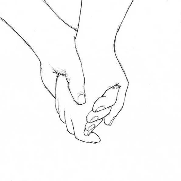 cartoon of two hands holding each other