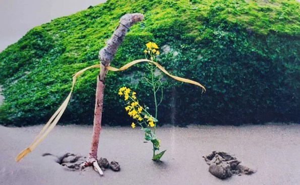 Sculpture with flowers on the beach