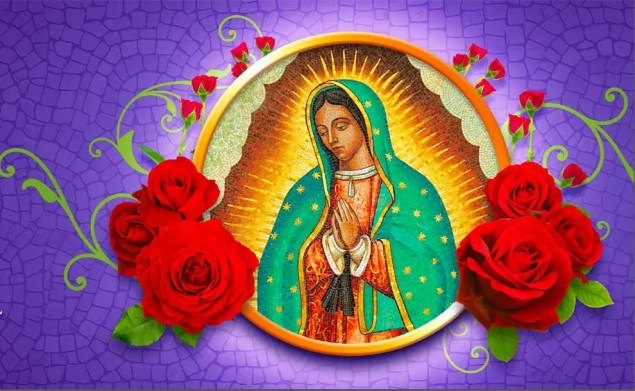 Photo of the Virgin Mary surrounded by red roses