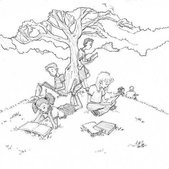 kids reading on a lawn under a tree