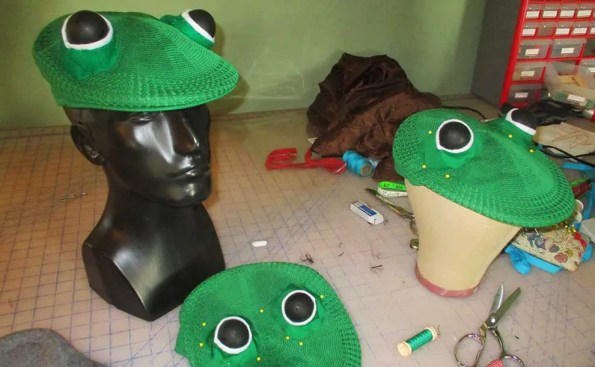 french beret hats with dark eyes and green skin