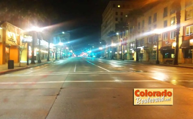 A deserted street at night