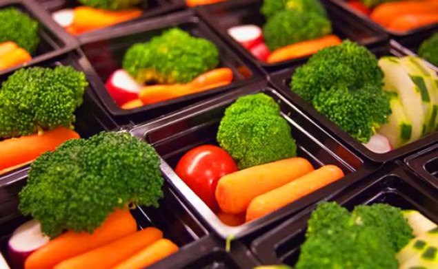 vegetables in small trays