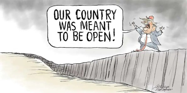 a man on top of a wall shouoting: Our Country is meant to be open