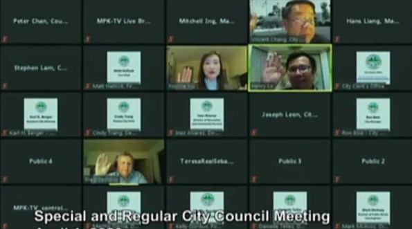 a zoom teleconference with squares filled with people and titles