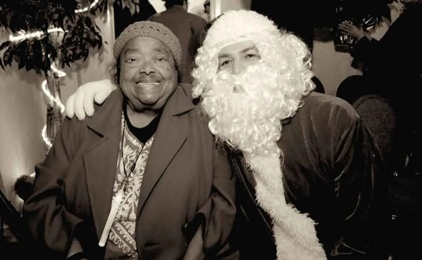 An African American woman with SantaClaus