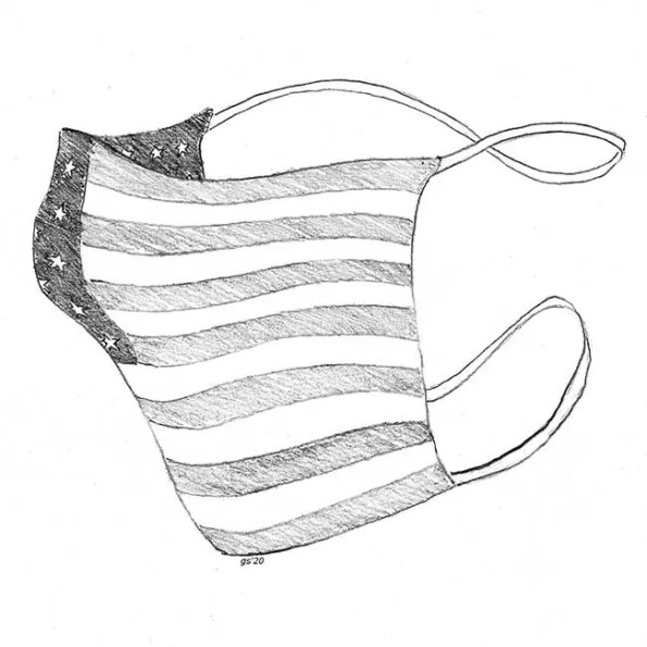 a mask with American flag print