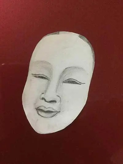 Drawing of a mask with solid color background