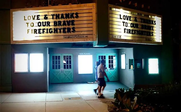 Marquee with thank you message to firefighters