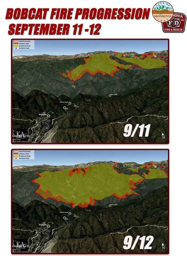 map comparison of fire spreading