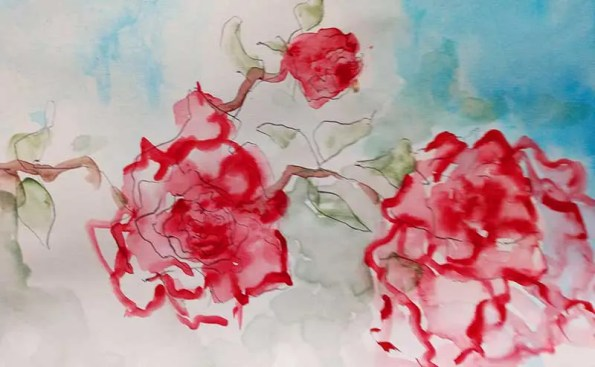 red roses painted