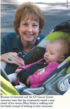 Ellen Smith is a lung cancer patient at the University of Colorado Cancer Center, here with her granddaughter Lucy.