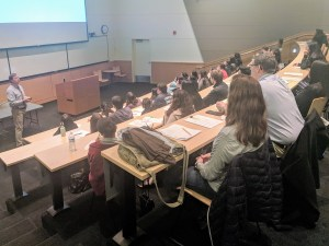 John Tentler, PhD, CU Cancer Center's associate director for education talks to students about cancer biology