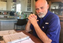 Former Rangely Police Lt. Roy Kinney at his kitchen table, breaking months of silence about the man he killed and job he lost in a December 2018 shooting. (Photo by Susan Greene)