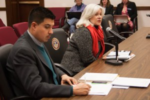 Seated beside the bill's sponsor, Jessie Ulibarri of Denver, election watcher and activist Marilyn Marks of Citizen Center called HB 1164 'a license for corruption' during testimony in the Senate's State Affairs Committee.