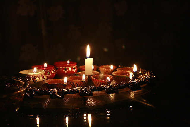 Candles lit in celebration of the Hindu holiday of Diwali.