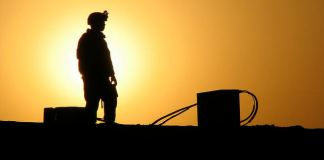A marine stands in Ramadi