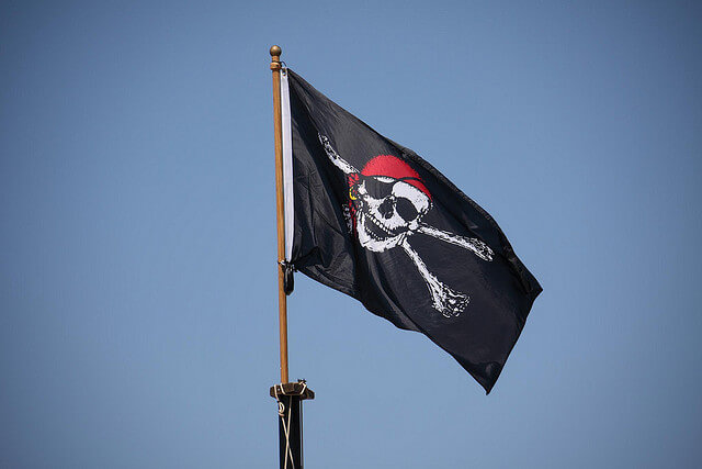 A pirate flag blows in the breeze