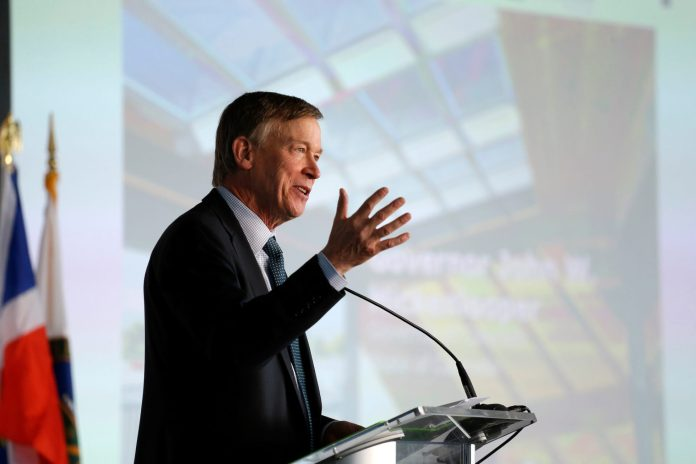 Former Colorado Gov. John Hickenlooper speaks at the U.S. Department of Energy Solar Decathlon 2017 opening ceremony in Denver Oct. 5, 2017. (Photo by Jack Dempsey/U.S. Department of Energy Solar Decathlon)