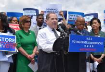 """""""Public Citizen."""" Rep. Jerry Nadler (D-N.Y.) speaks at a press conference at the House Triangle in Washington, D.C., to call for reforms to restore voting rights on June 25, 2019. (Photo by Samantha Lai via Flickr: Creative Commons)"""