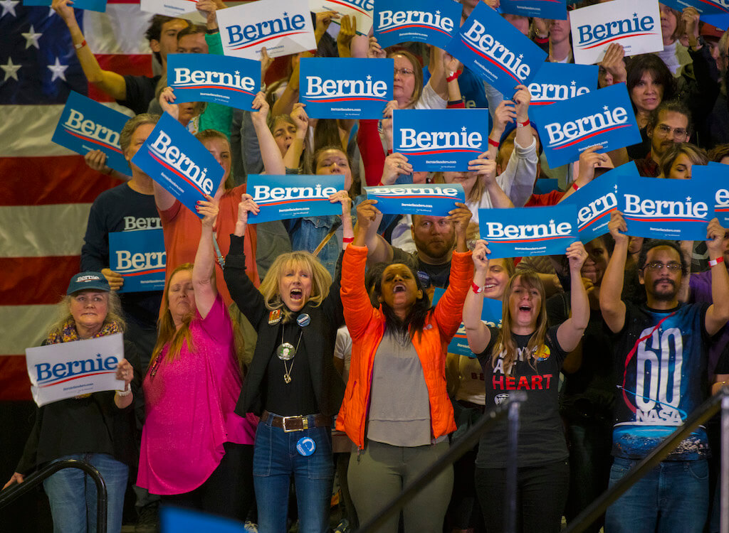 Bernie Sanders' fans show their support at a rally for the current Democratic presidential primary front-runner on Feb. 26, 2020. Thousands of people crowded the Colorado Convention Center to hear Sanders speak ahead of the March 3, 2020 Super Tuesday primaries. (Photo by Evan Semón)
