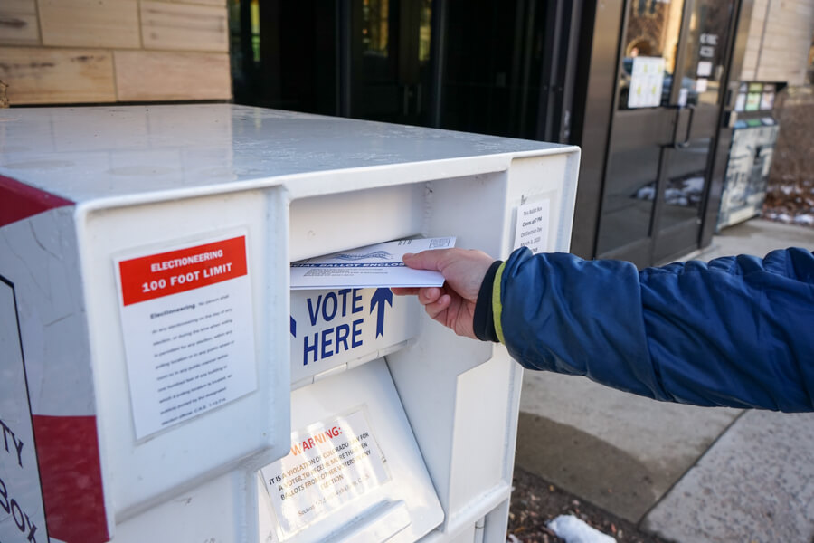 Voters in Boulder cast their primary ballots on March 2, 2020. (Photo by John Herrick)
