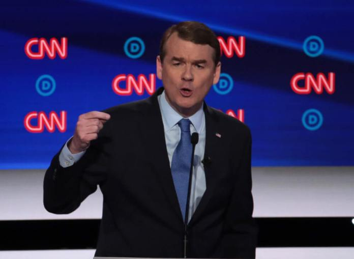 DETROIT, MICHIGAN - JULY 31: Democratic presidential candidate Sen. Michael Bennet (D-CO) speaks during the Democratic Presidential Debate at the Fox Theatre. Twenty presidential hopefuls were split into two groups of 10 to take part in the debate sponsored by CNN held over two nights. (Photo by Scott Olson/Getty Images)