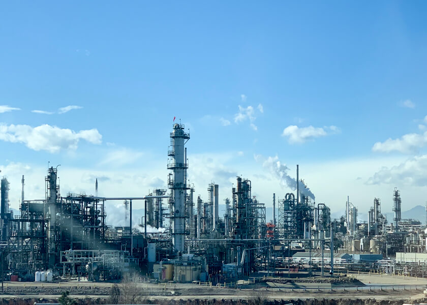 Suncor's oil refinery north of Elyria-Swansea on Jan. 11, 2020. At the end of December, the U.S. benchmark price for a barrel of oil was $62. By mid-March, as folks worldwide stopped flying and driving, it had dipped to around $20, before falling into negative territory, and then leveling off around $10 in April.