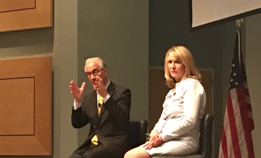 Mark Kennedy, president of North Dakota University and finalist for the top job at the University of Colorado, on stage with CU Board of Regents Chair Sue Sharkey at a public forum on April 24, 2019. (Photo by Susan Greene)