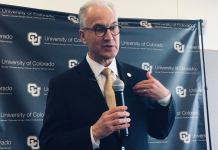 Mark Kennedy was the sole finalist for the job of president of the University of Colorado. He won the job after a 5-4 party-line vote by the CU Board of Regents Thursday, May 2. (Photo by Susan Greene, Colorado Independent.