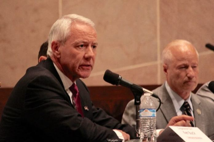 Colorado GOP Rep. Ken Buck at a candidate forum in Denver on Tuesday, Oct. 16, 2018. On Wednesday, Oct. 16, 2019, Buck joined his GOP and Democratic colleagues in the House and condemned President Trump for the U.S. withdrawal of forces from Syria. (Photo by Rachel Lorenz for The Colorado Independent)