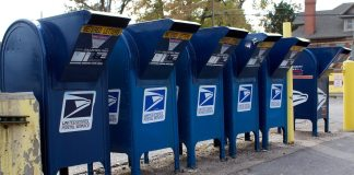 Mailboxes at the United States Post Office, South Denver station on Broadway.