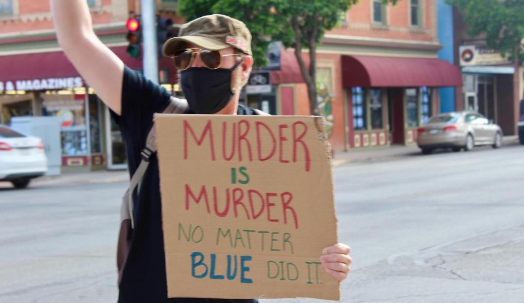 James Marshall protesting in Alamosa, Colorado on June 4, 2020 minutes before he shot driver Danny Pruitt. (Photo by Megan Colwell/Valley Courier)