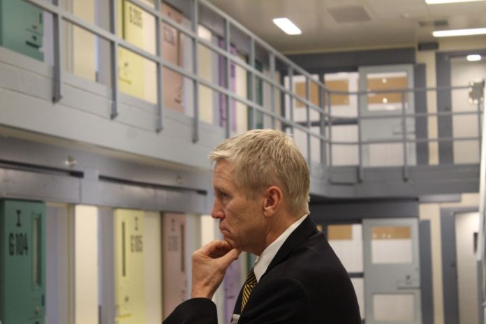 Dean Williams, the new director of Colorado's Department of Corrections, tours the Centennial South prison for the first time on July 19, 2019. The prison can fit more than 900 people and could be used if the state prison population gets too high. But Williams says he's committed to a