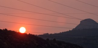 Sunset in Durango as fires burn to the west on Aug. 24, 2018. (Photo by John Herrick)