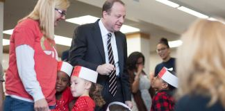 Gov. Polis speaks to students at the Greenlee Elementary School on March 22, 2019 after he and lawmakers announced a plan to fund full-day kindergarten. (Photo by John Herrick)