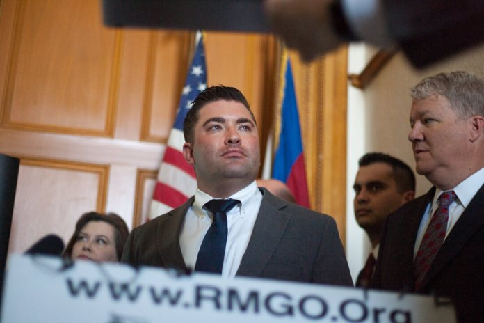 House Minority Leader Patrick Neville at a press conference when Rocky Mountain Gun Owners announced a lawsuit to overturn Colorado's red flag law on May 2, 2019. (Photo by John Herrick)