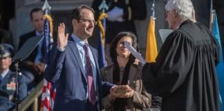 Phil Weiser, left, was sworn in as Colorado's attorney general last week.
