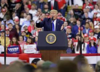 ILWAUKEE, WI - JANUARY 14: U.S. President Donald Trump speaks during a rally at UW Milwaukee's Panther Arena. Trump, who was the third president to face impeached, was acquitted by the Senate on Jan. 5, 2020. (Photo by Joshua Lott/Getty Images)